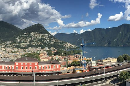Top floor studio with top lake view - Lugano - Apartament