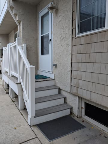 We have a small patio area at the foot of our front steps that is private and quiet if you would like to enjoy some beautiful summer weather.