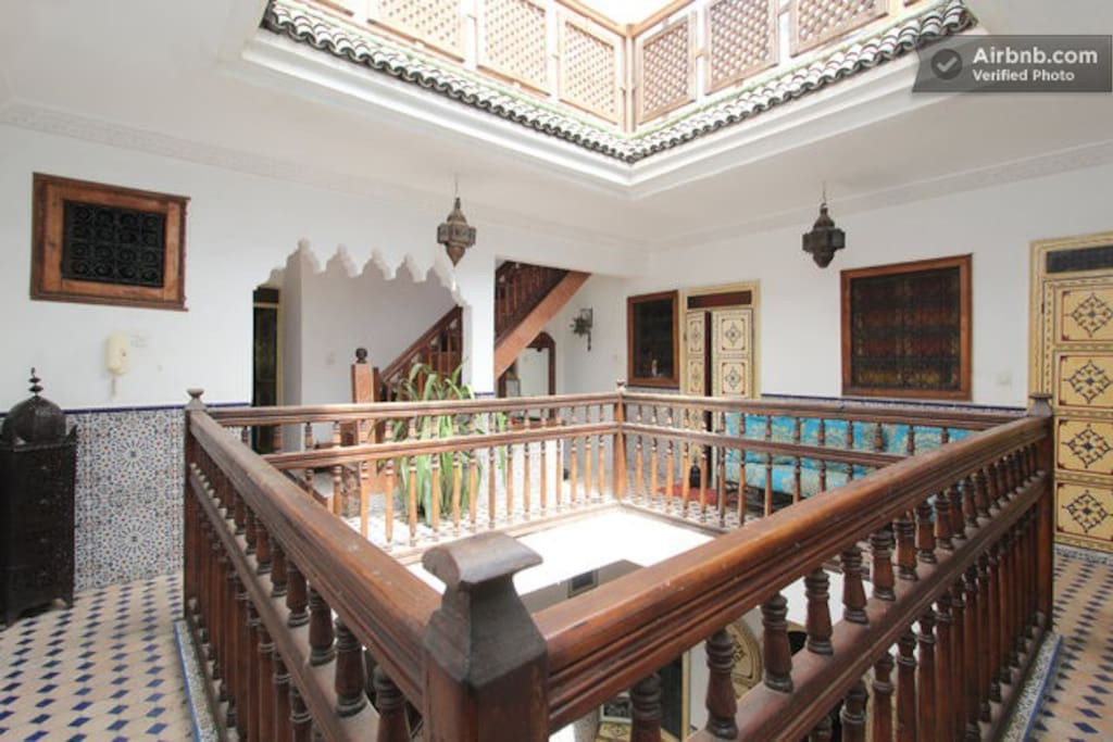 The Riad at the upper floor where the kitchen and living room are.