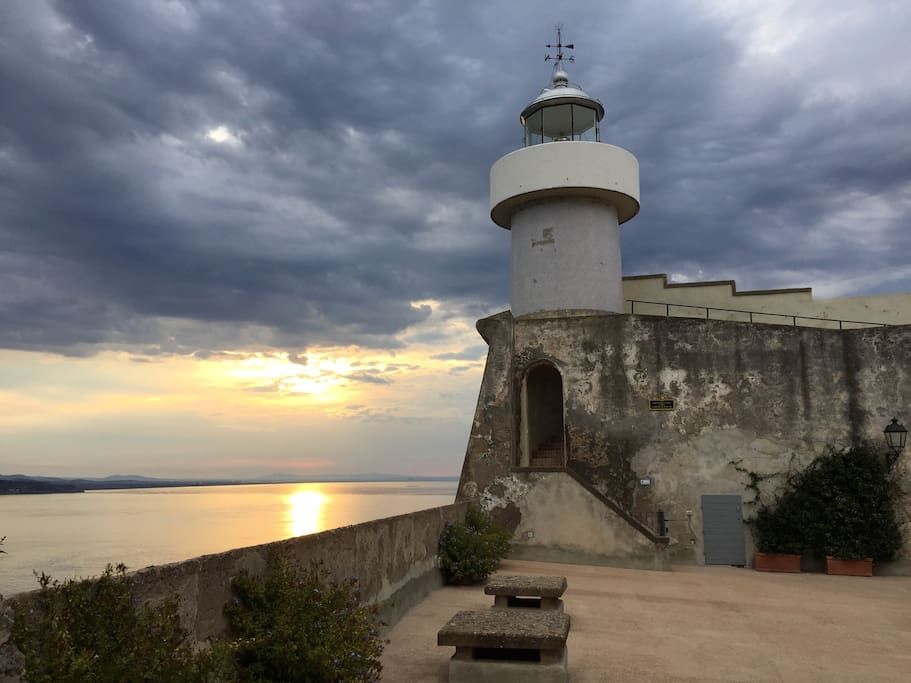 old lighthouse on the cliff of the Rocca