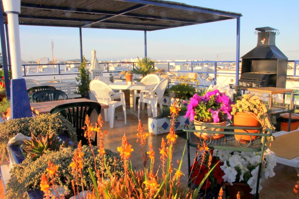 Roof garden terrace with BBQ  and wonderful views over Olhao and the Ria Formosa
