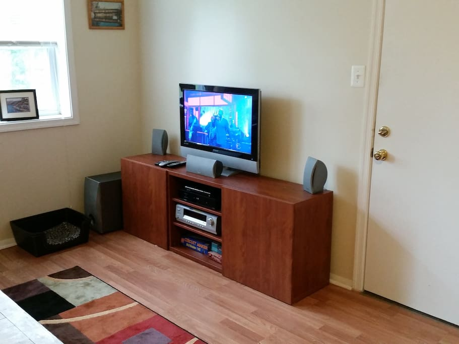 Digital HD TV with DVD/Blu-Ray player and surround sound