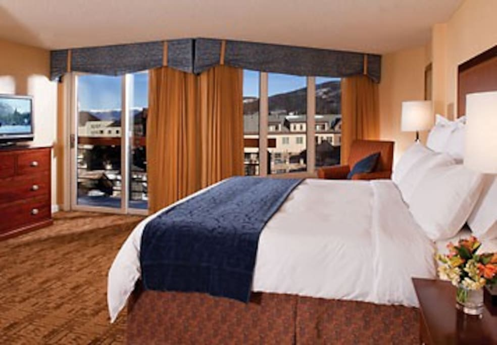 The Master Bedroom has a king bed, large TV, large bathroom with whirlpool.