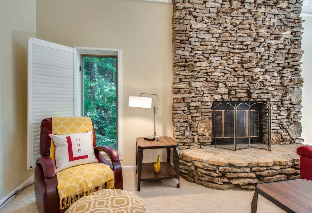 Check out that beautiful fireplace!