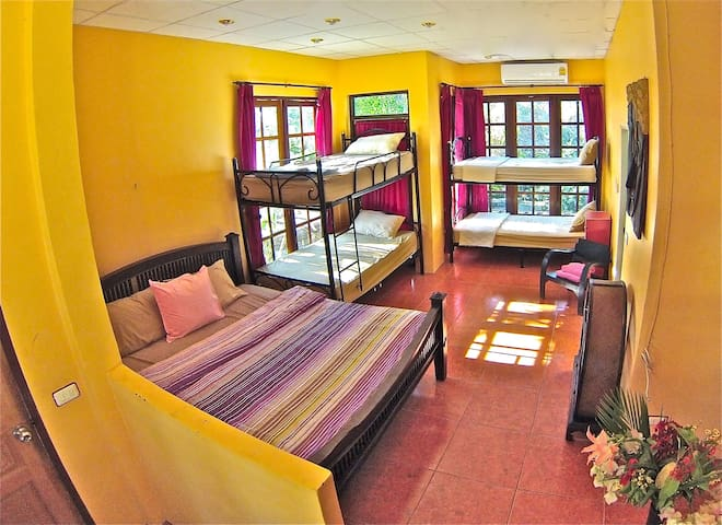 Room With 2 Bunk Beds and 1 King Size Bed with Swimming Pool View + 1 private shower room