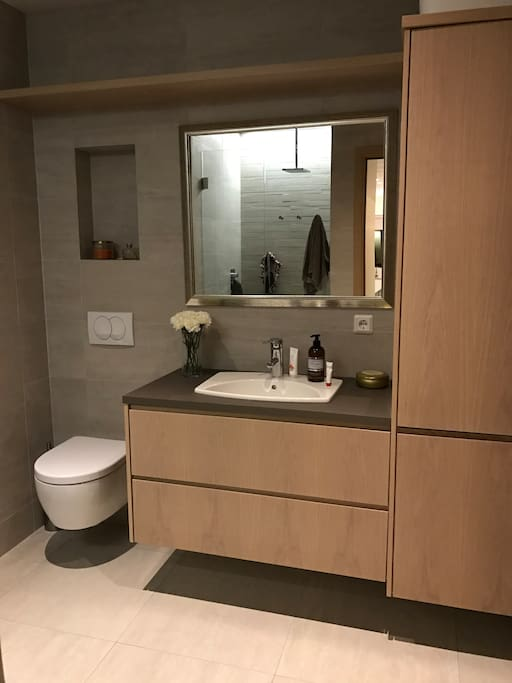 Upper bathroom with direct access to outside hut tub and shower