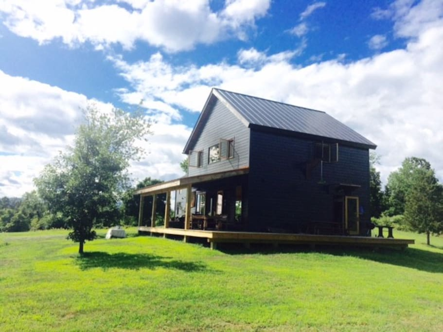 Barn on a quiet road in germantown,with beautiful view on the Catskill mountains on 25 acres with no other house in sight. Owner is a designer who has travelled the world so each piece of furniture has been carefully chosen and is a treasure she has brought back from a faraway land....