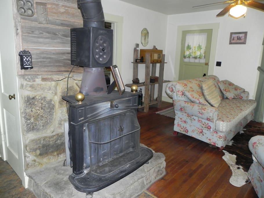 fireplace/woodstove in livingroom