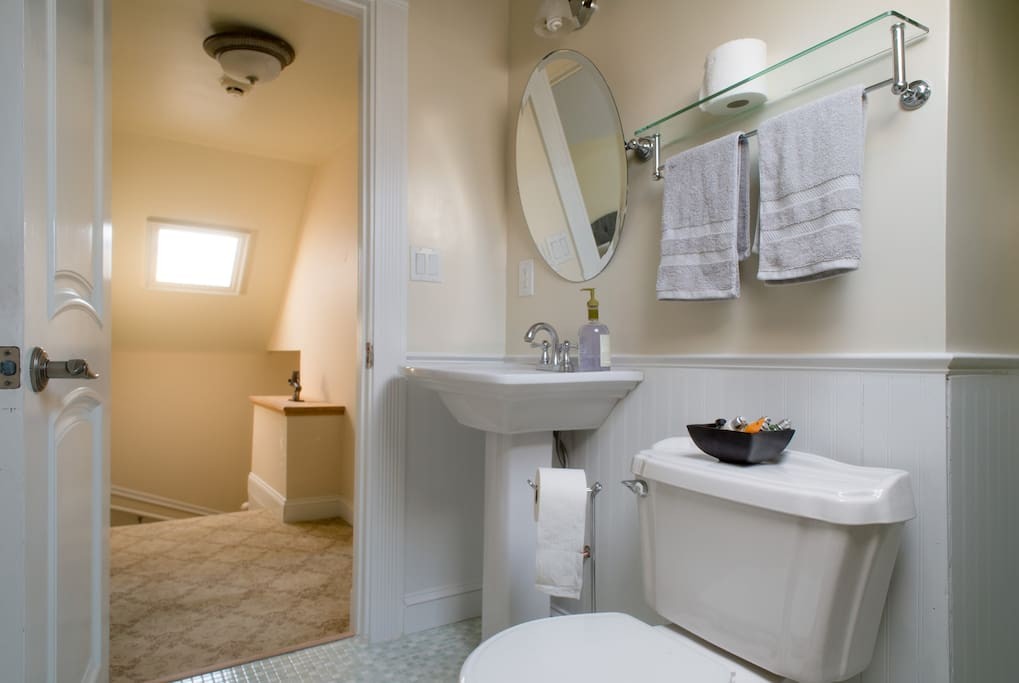 Remodeled Bathroom with fresh towels