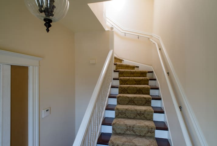 French carpet stairs to the room with private entrance