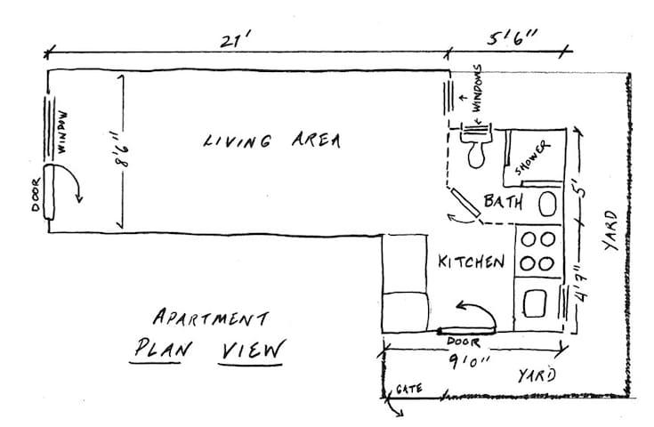 Floorplan, showing length & width of space(s).