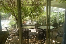 Your own alfresco area, sometimes covered by fragrant Wisteria flowers