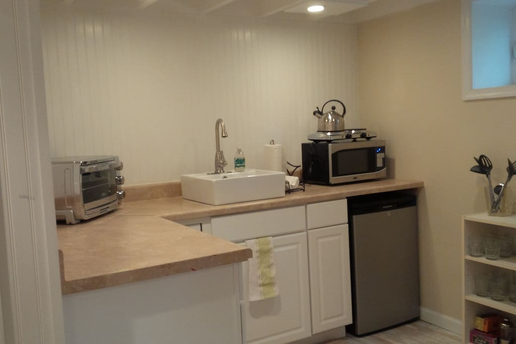 Kitchenette with fridge, convection oven/toaster oven, two burner stove.