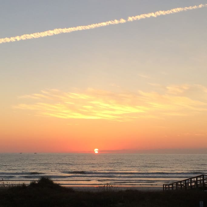 Sunrise over Crescent Beach. Dolphins & Seagulls welcoming the day.
