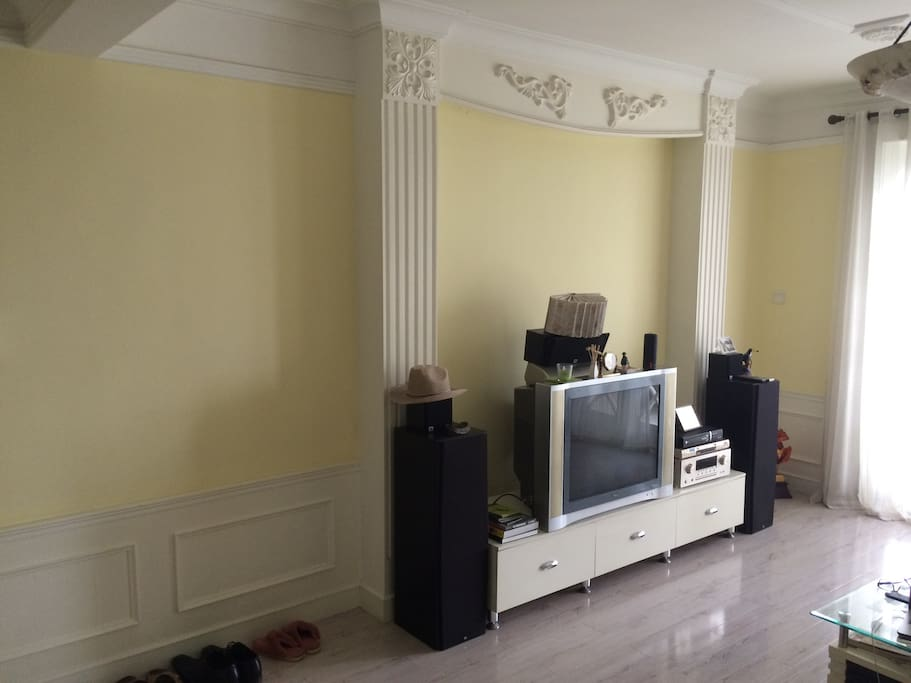 living room with TV and sofa, aircondition icl. heating function
