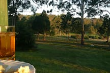 At dusk in the warmer weather, it is very pleasant enjoying a relaxed time overlooking the back part of the property.