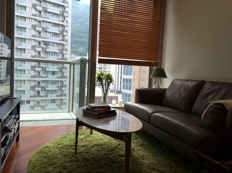 Sunny well-lit living room