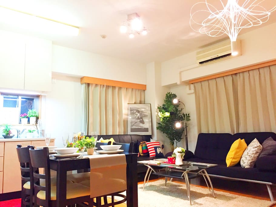 Large modern room in Shinjuku center for up to 6 people