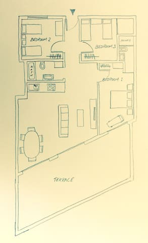 Apartment plan (furniture not to scale)