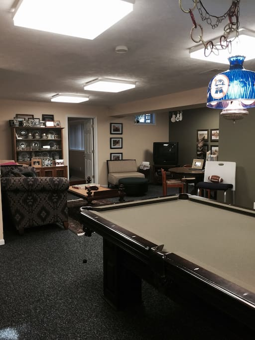 Family Room with pool table, TV