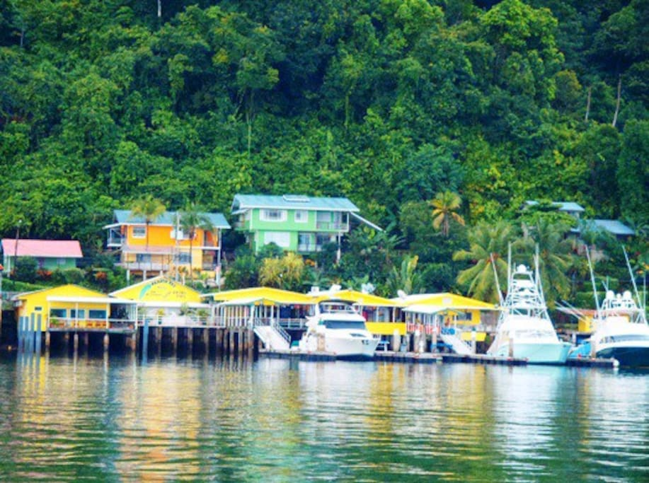 First single level home on the hillside (left). Photo taken from the Banana Bay Marina anchorage.