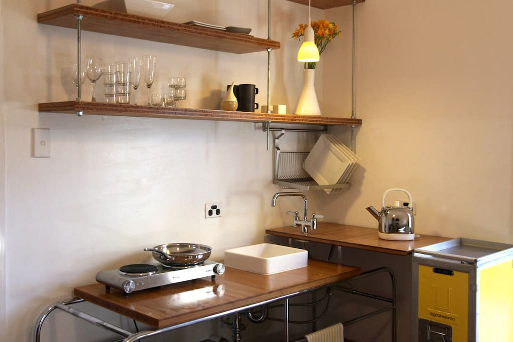 Custom designed galley kitchen with airline trolley pantry (now with in-built burners)