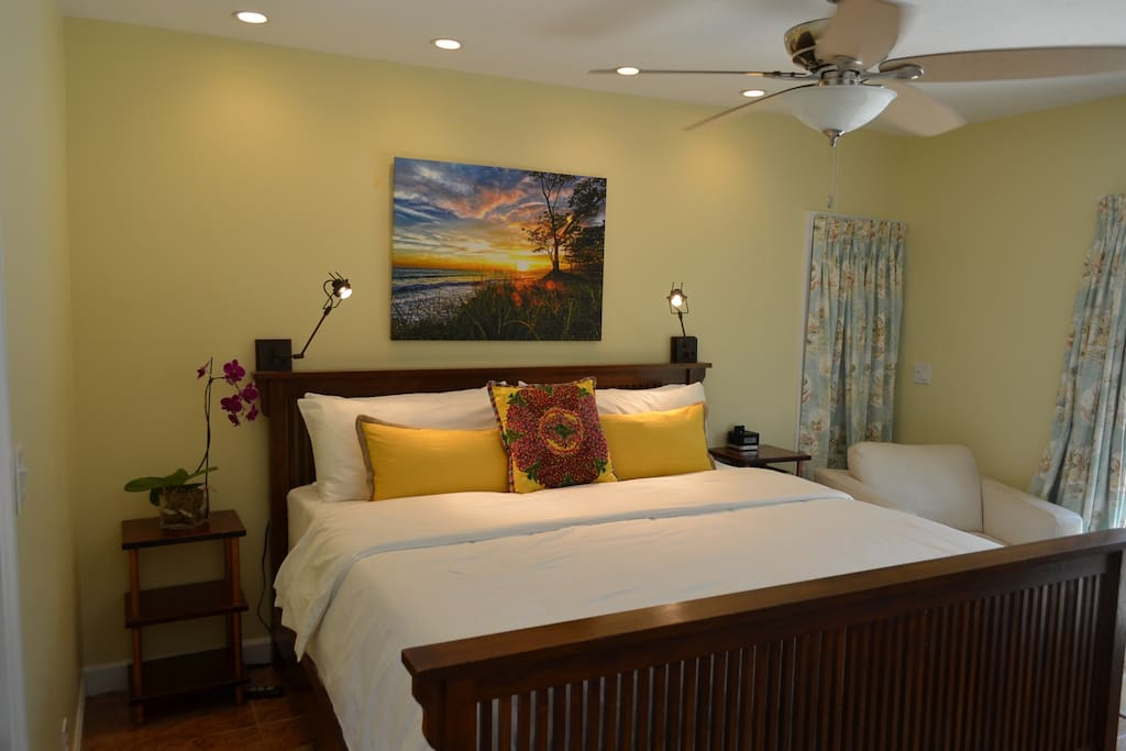 "King Size Bedroom with  private access to pool with 52"" Flat Screen"