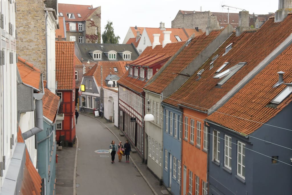 From the windows you'll view the oldest streets of Aarhus