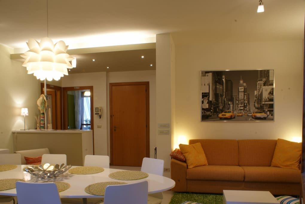 The lounge and the living room
