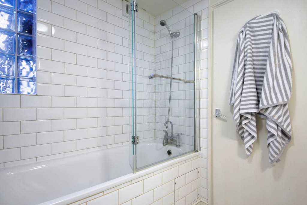 Your own ensuite bathroom.  Not just a shower but a large bath!  White and chrome and very clean!