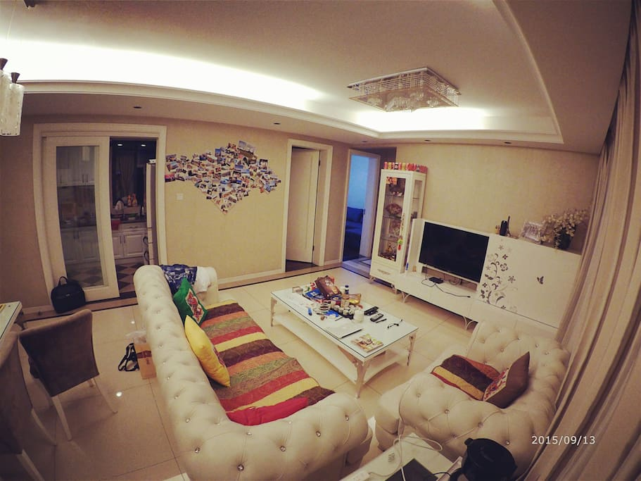 Living room with 3+1 sofa and TV , dining table for 6people maximum.