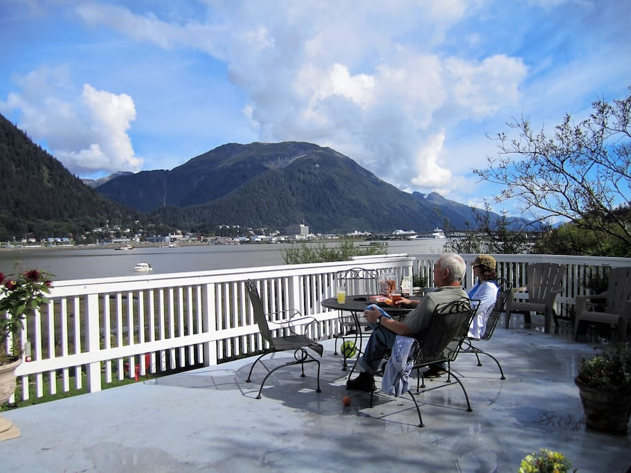 Watch the eagles, whales and float planes go by on the shared deck.