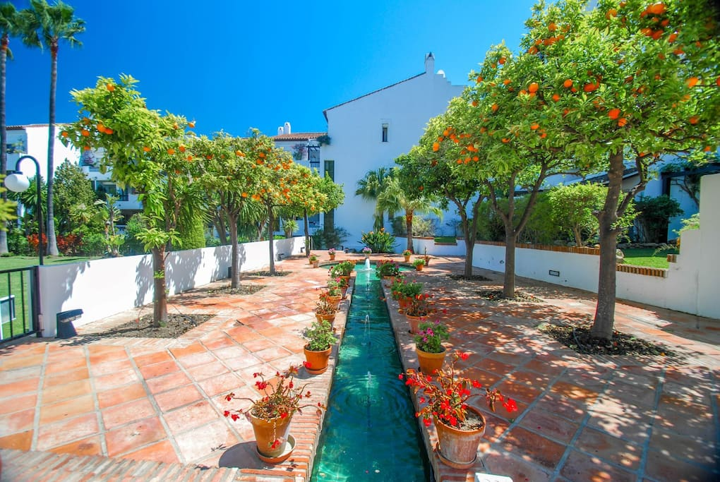 Property gardens with typical Spanish fruit trees and vistas