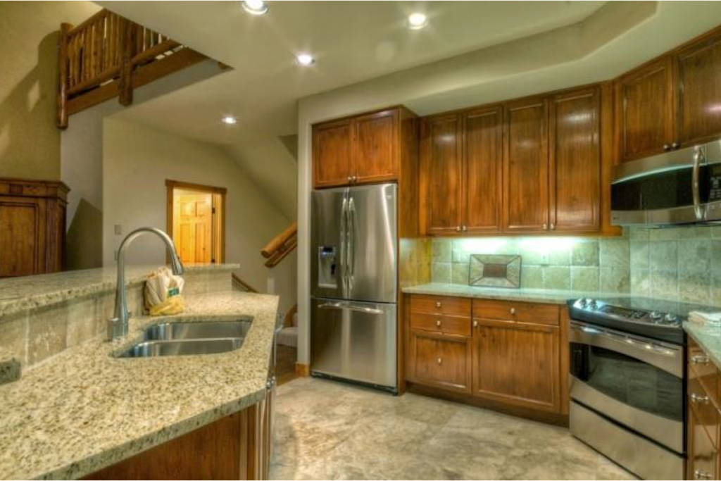 Well appointed gourmet kitchen overlooking great room