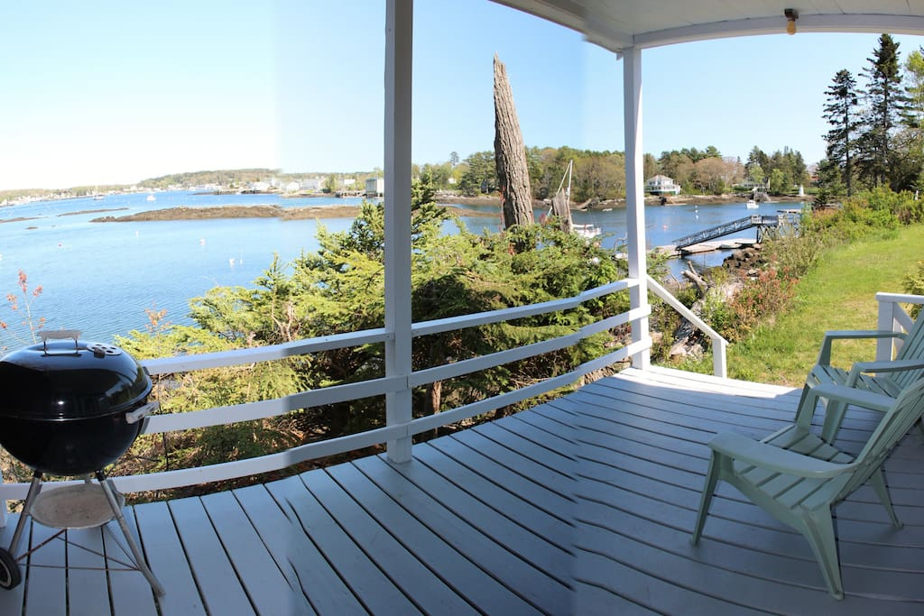View from the covered porch of the Shore Cottage at Harborfields