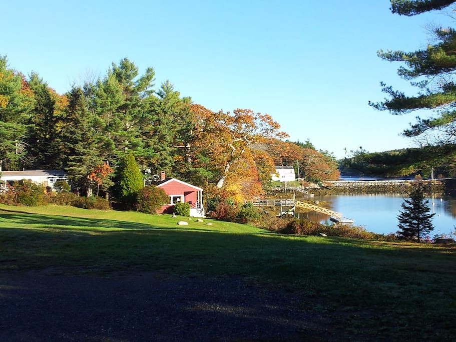 The Shore Cottage with fall foliage on West Boothbay Harbor