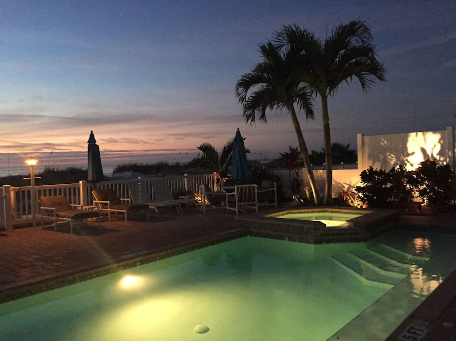 Our place is right on beautiful Indian Rocks Beach with a pool