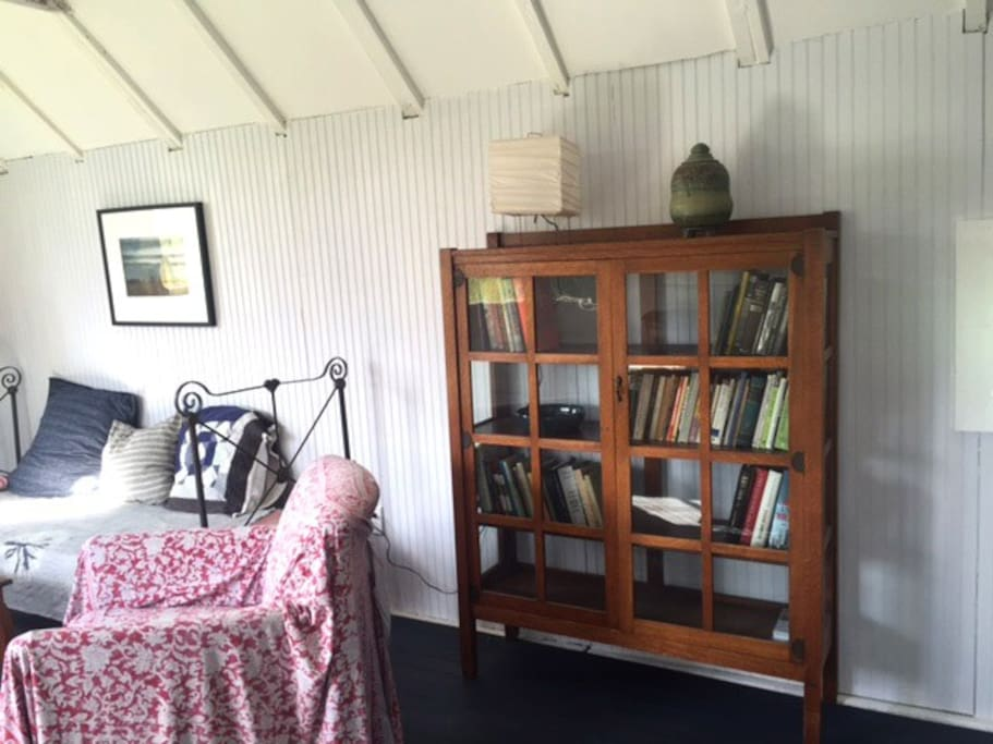 studio bookcase and daybed