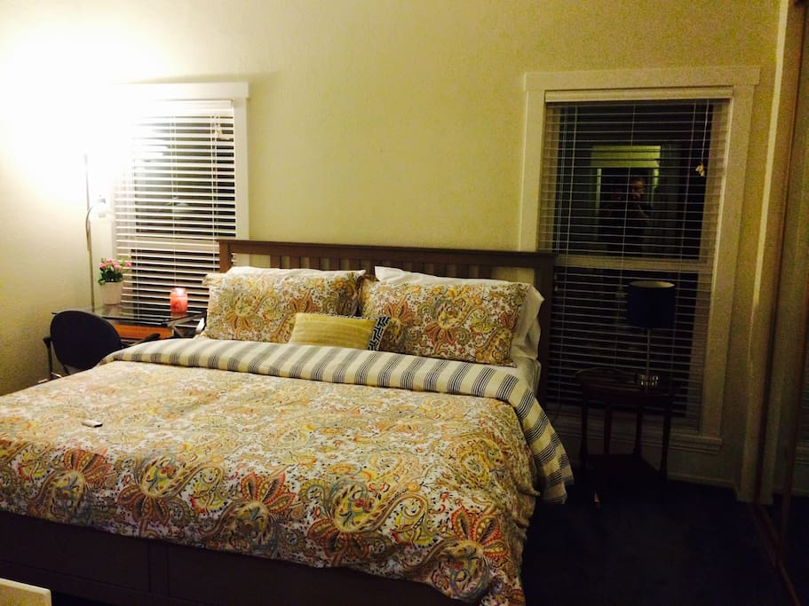 Another view of bedroom - high end bedding