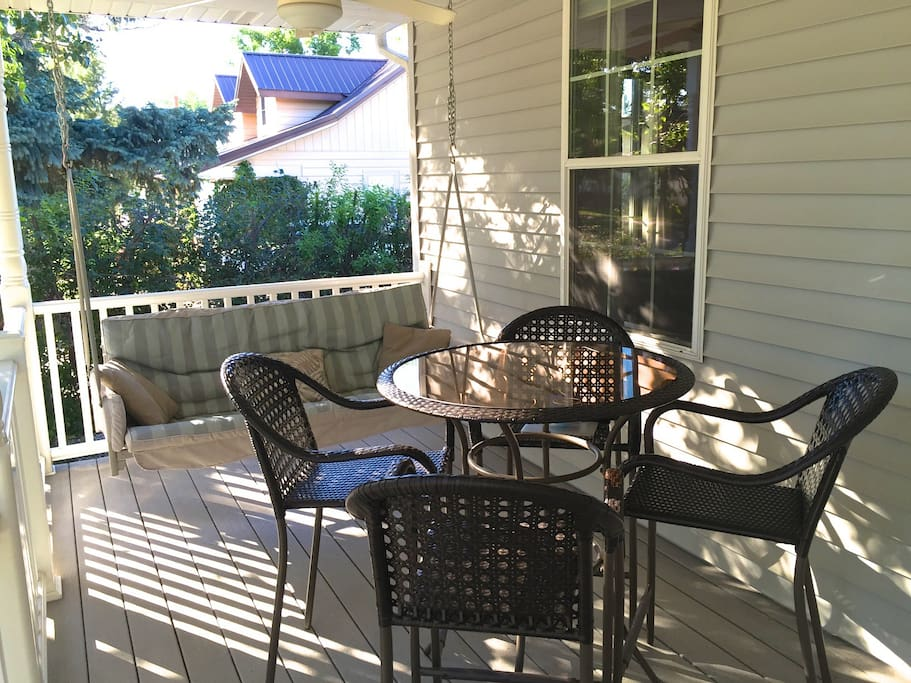 Porch swing and table