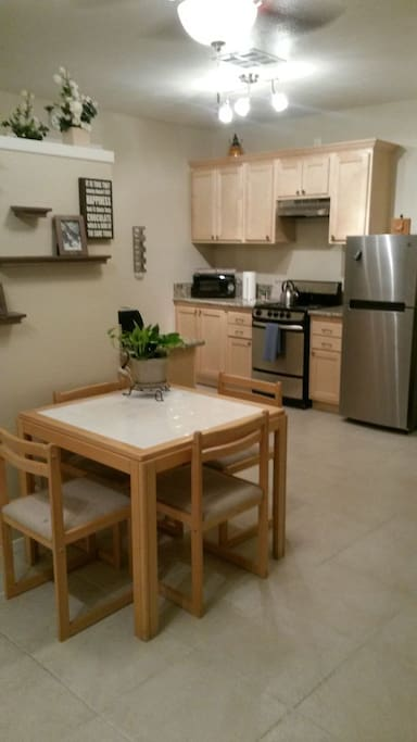New kitchen and ample eating area.
