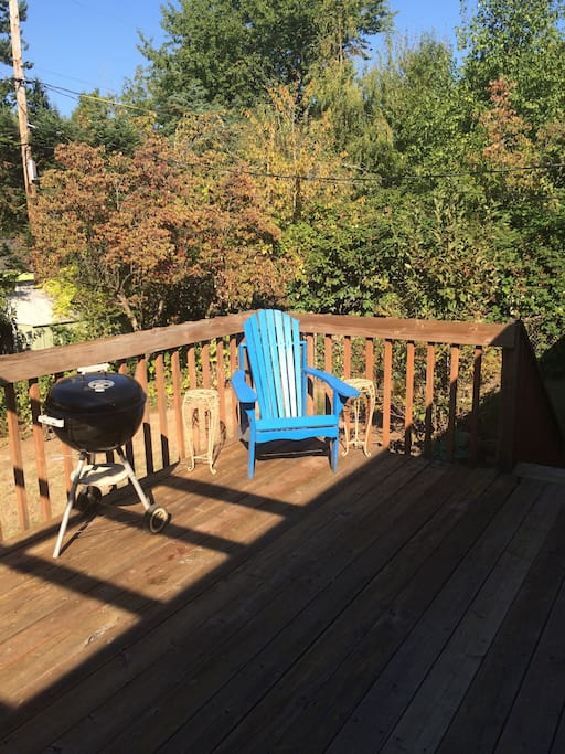 Back yard deck off of kitchen, perfect place to enjoy morning coffee or tea, or afternoon BBQ.