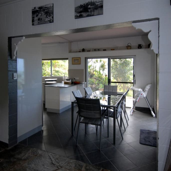 Indoor dining area viewed from the living room