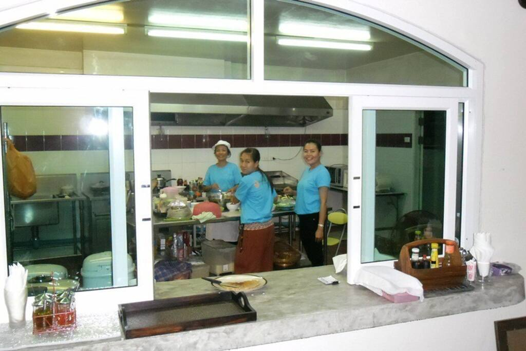 Our smiling and very compentent kitchen staff is ready to serve you.