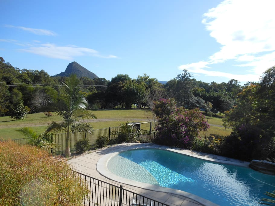 View from the deck of the pool with Mt Cooran in the distance.