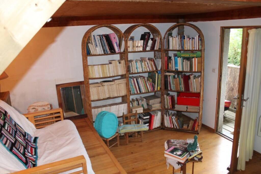 une pièce bibliothèque et chambre d'amis. Nombreuses revues littéraires rares.