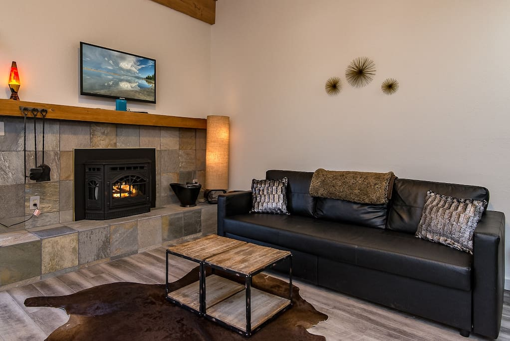 Unwind in the living room with fireplace.