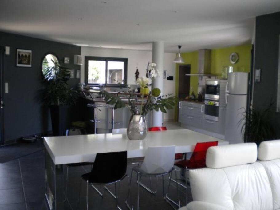 Grande pièce de vie : cuisine, salle à manger, salon, prolongée par un demi-niveau pour le coin TV