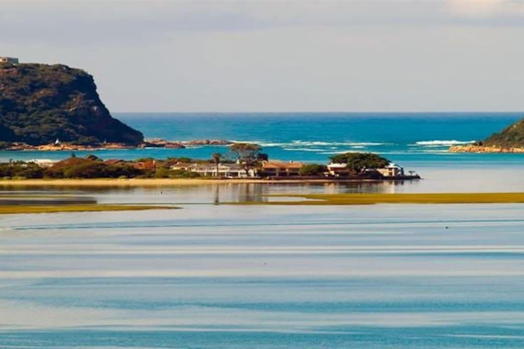 Knysna Heads photographed from Leisure Isle