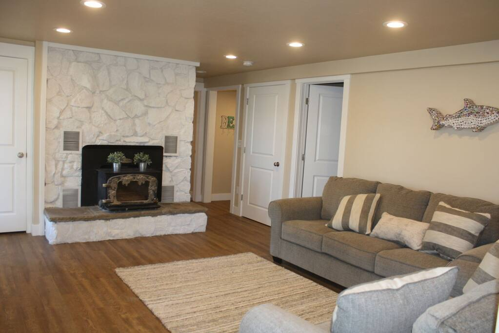 Lower living area with pullout couch and fireplace